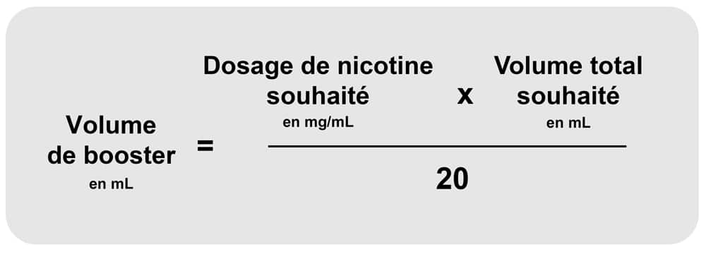 Tableau calcul Booster de nicotine
