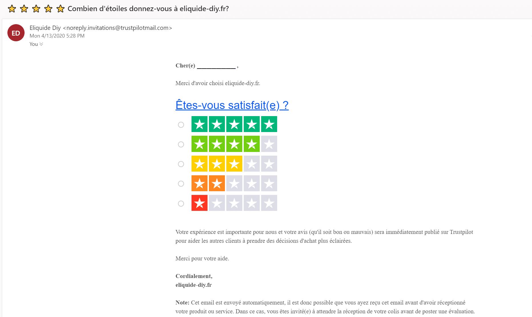 Relance email Trust Pilot