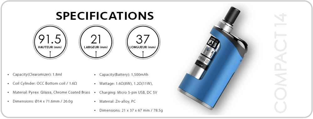 Kit JustFog compact14 spécifications